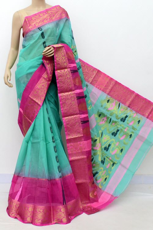 Sea Green Pink Designer Handwoven Bengal Tant Cotton Saree (Without Blouse) Zari Border 17452