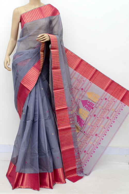 Grey Red Exclusive Handwoven Bengal Tant Cotton Saree (Without Blouse) 17556