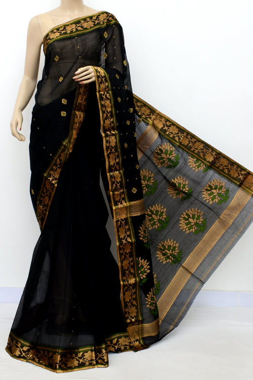 Black Exclusive Handwoven Bengal Tant Cotton Saree (Without Blouse) 17565