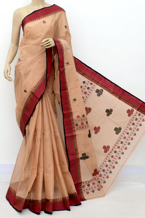Light Chocolatee Exclusive Handwoven Bengal Tant Fine Cotton Saree (With Blouse) 17609