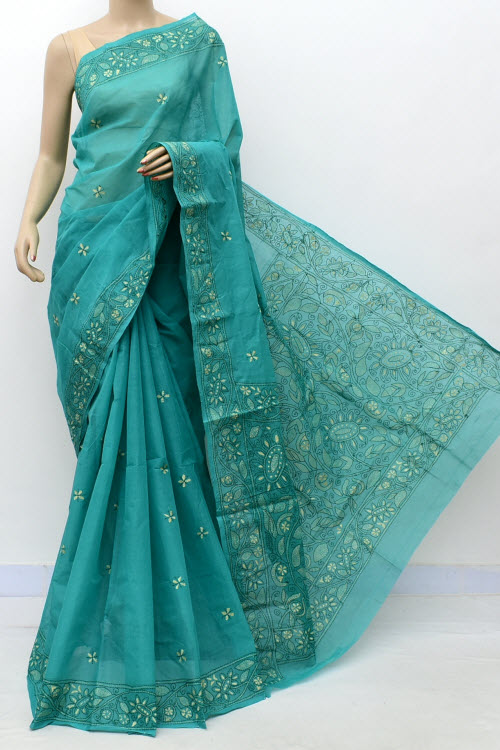 Sea Green Hand Embroidered Kantha Work Bengal Tant Cotton Saree (Without Blouse) 17744