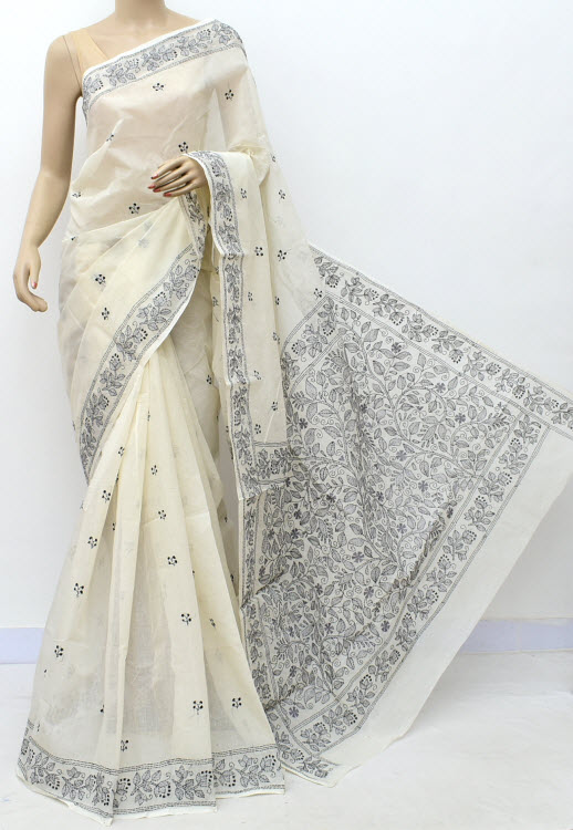 Off White Grey Hand Embroidered Kantha Work Bengal Tant Cotton Saree (Without Blouse) 17749