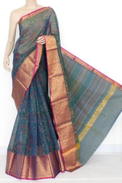 3628455f3666bc Peacock Blue Banarasi Kora Cot-Silk Printed Handloom Saree (With Blouse)  16104