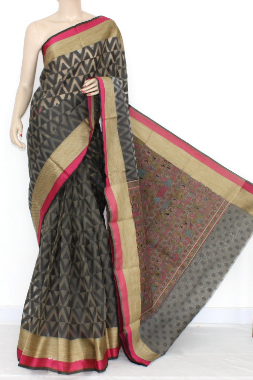 Black Grey Banarasi Kora Cot-Silk Handloom Saree (With Blouse) Golden Zari 16108
