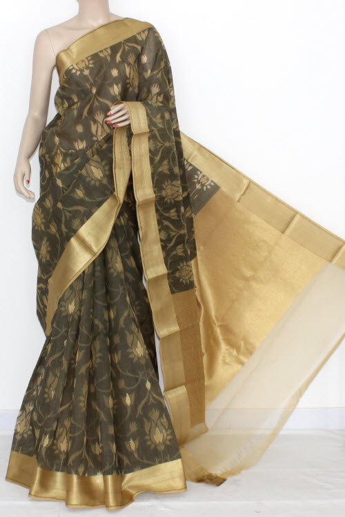 Black Grey Banarasi Kora Cot-Silk Printed Handloom Saree (With Blouse) Golden Zari 16111