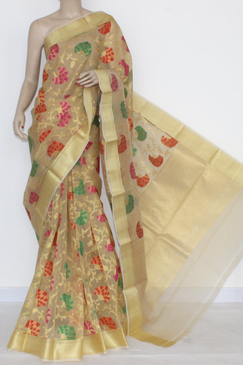 Fawn Banarasi Kora Cot-Silk Printed Handloom Saree (With Blouse) 16114