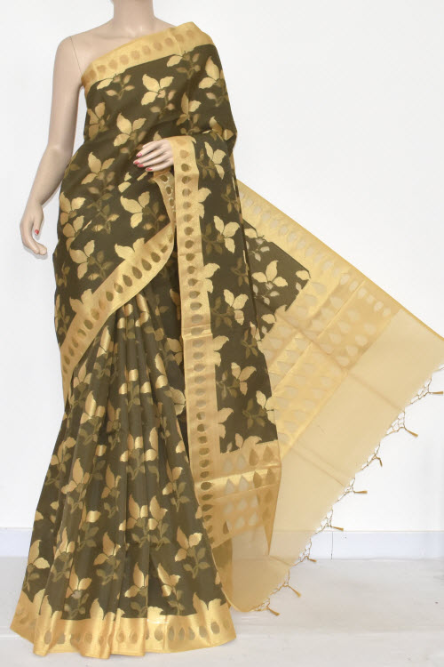 Dark Grey Allover Golden Booti Banarasi Kora Cot-Silk Handloom Saree (With Blouse) Zari Border 16128