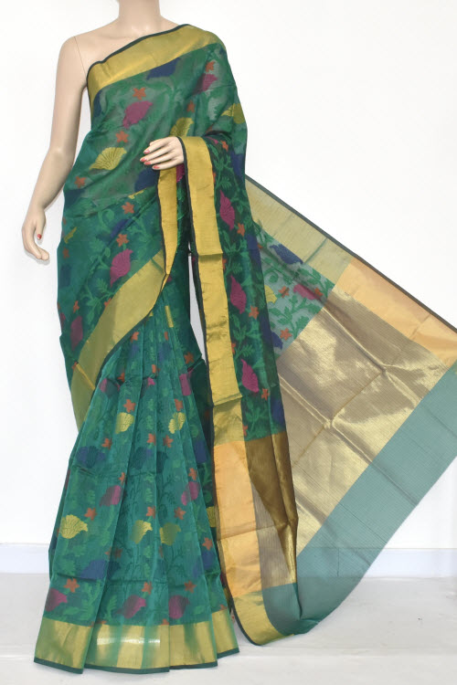 Green Banarasi Kora Cot-Silk Handloom Saree (With Blouse) Zari Border 16131