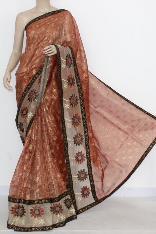 Red Designer Supernet Embroidered Saree (With Blouse) Net Botder 16153