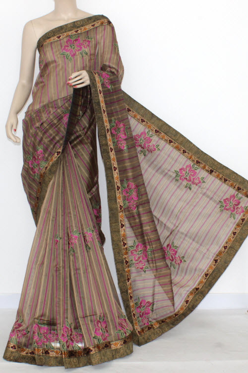 Magenta Fawn Designer Supernet Embroidered Saree (With Blouse) Floral Border 16159