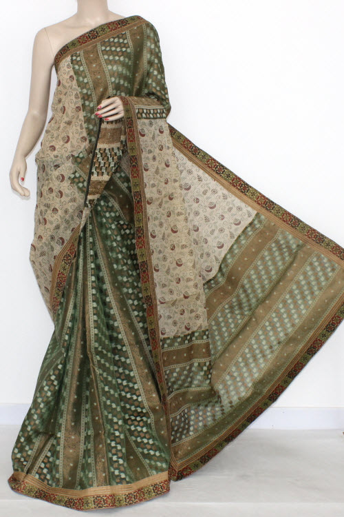 Green Fawn Designer Supernet Embroidered Saree (With Blouse) Half-Half 16160