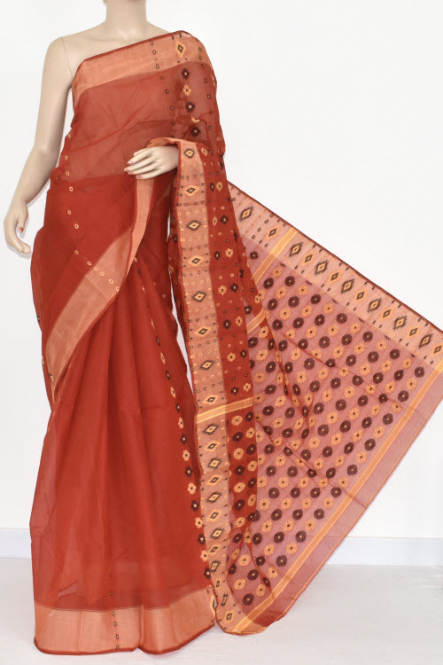 Rust Handwoven Bengali Tant Cotton Saree (Without Blouse) 16999