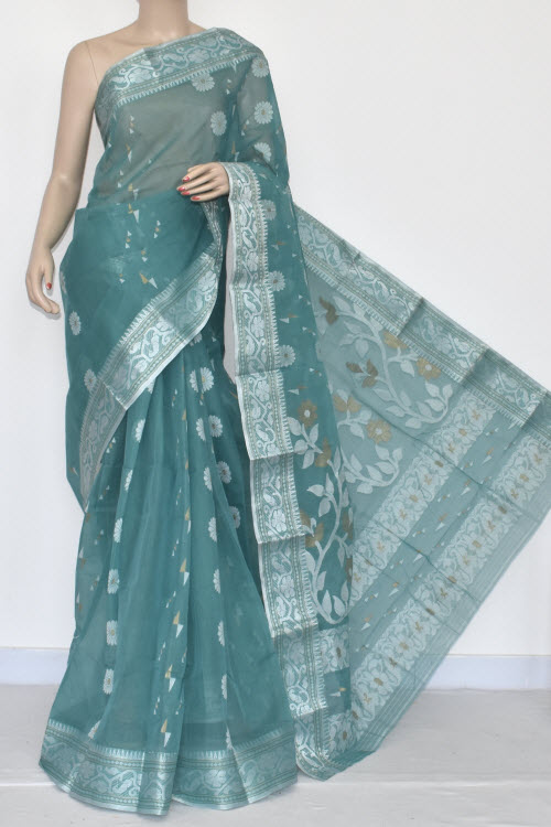 Greenish Grey Handwoven Bengali Tant Cotton Saree (Without Blouse) Silver Zari Border 17008