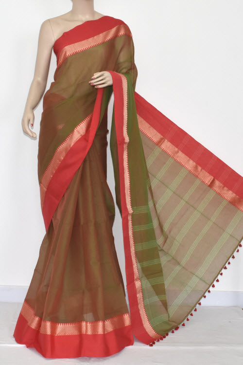 5d86bbcdca Menhdi Green - Red Handwoven Bengali Tant Soft Cotton Saree (Without Blouse)  17067. 30% OFF