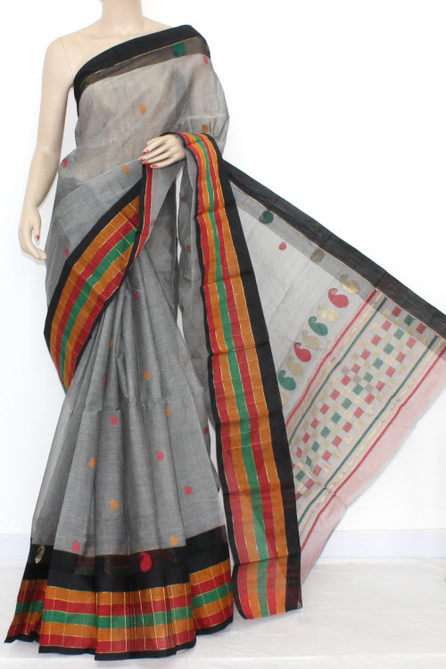 Grey Handwoven Bengal Partywear Tant Cotton Saree (With Blouse) 17088