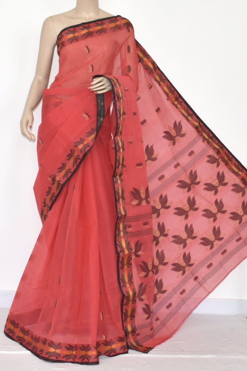 Peach Designer Handwoven Bengali Tant Cotton Saree (Without Blouse) Resham Border 17091