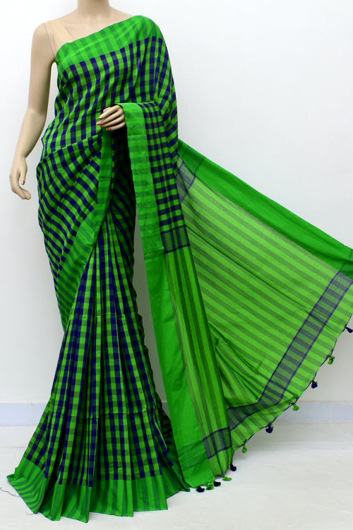 Green Blue Handwoven Soft Cotton Saree (With Blouse) 17648