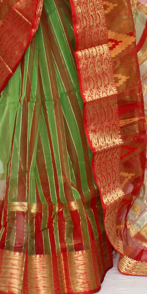 8facd4e742 Green Red Handwoven Bengal Tant Kora Cotton Jamdani Saree (Without Blouse)  17092. product-image. product-image