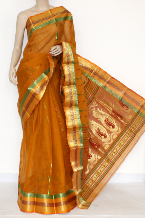 Mustared Yellow Handwoven Bengal Tant Cotton Saree Zari Border & Pallu (Without Blouse) 17134
