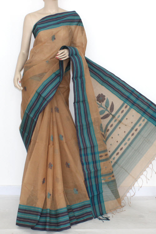 Fawn Designer Handwoven Bengali Tant Cotton Saree (With Blouse) 17289