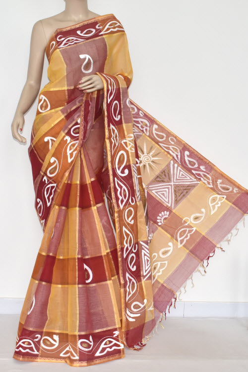 Red Yellow Handwoven Bengali Tant Cotton Saree (Without Blouse) 17331