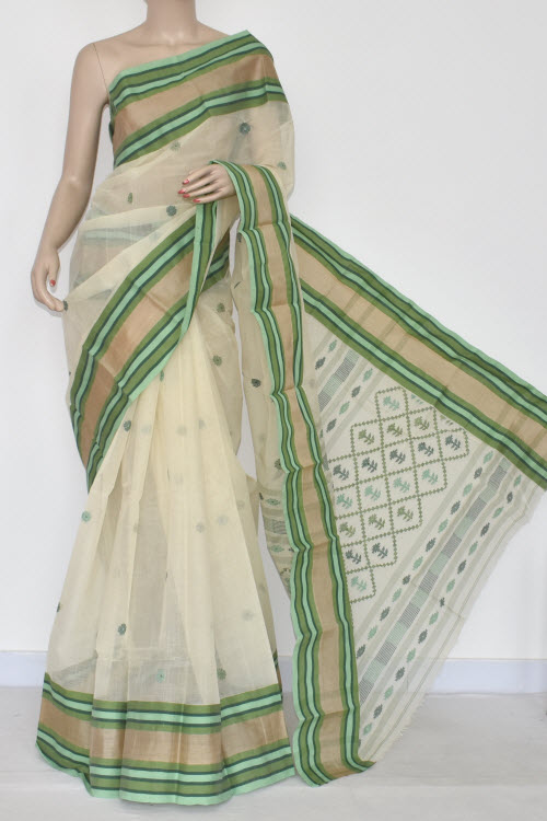 Off White Handwoven Bengal Tant Cotton Saree (Without Blouse) Munga Border 17338