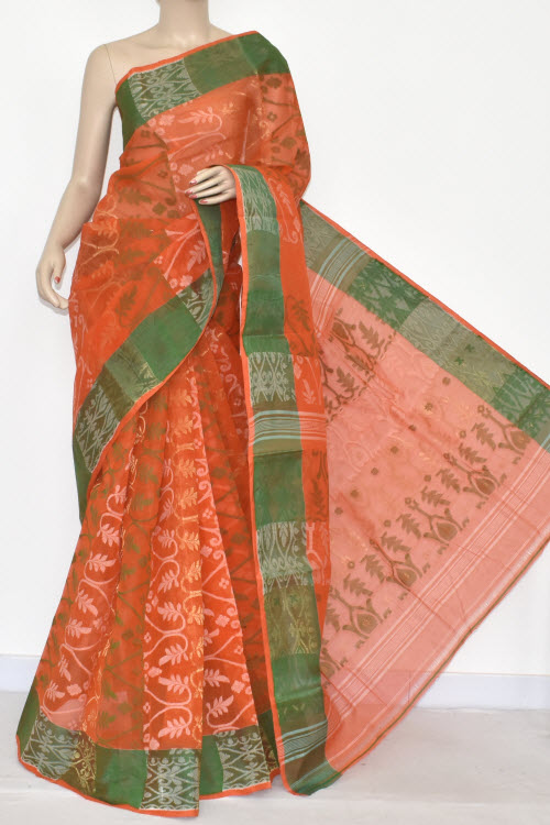 Orange Handwoven Bengali Tant Cotton Jamdani Saree (Without Blouse) 17345