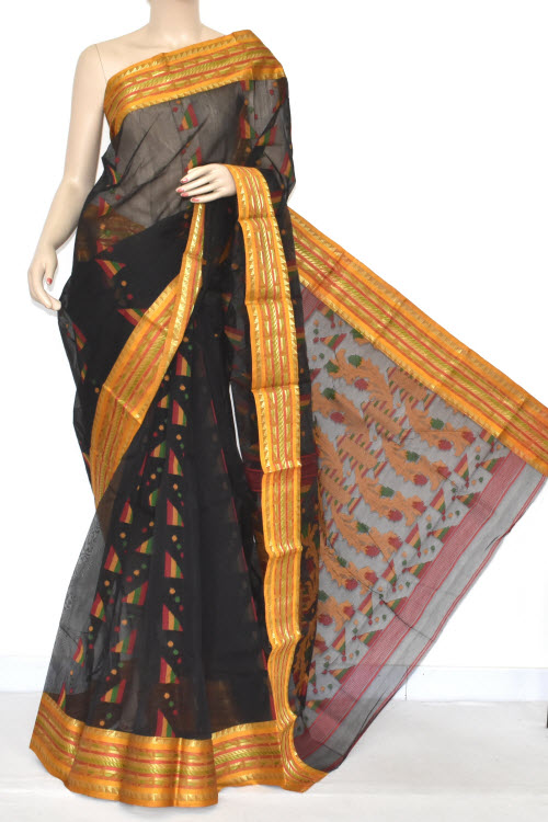 Black Handwoven Bengali Tant Cotton Jamdani Saree (Without Blouse) 17349