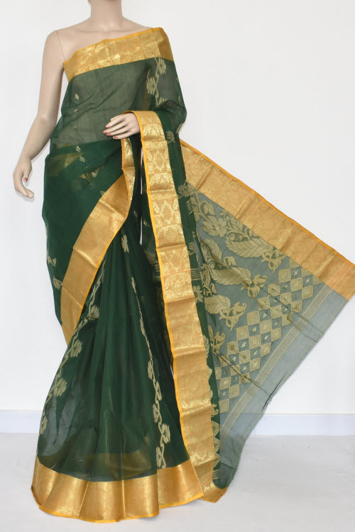 Green Handwoven Bengal Tant Cotton Saree (Without Blouse) Yellow Zari Border 17361