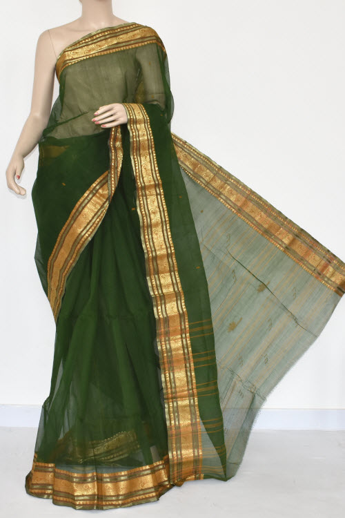 Bottle Green Handwoven Bengal Tant Cotton Saree (Without Blouse) 17377