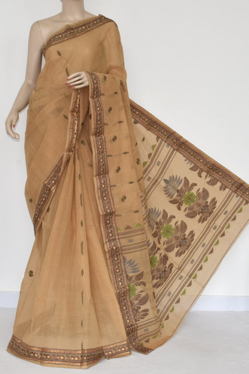 Fawn Handwoven Bengal Tant Cotton Saree (Without Blouse) 17384