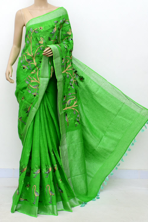 Green Exclusive Wrinkle Free Lenin Fabric Embroidered Saree (With Blouse) 16295