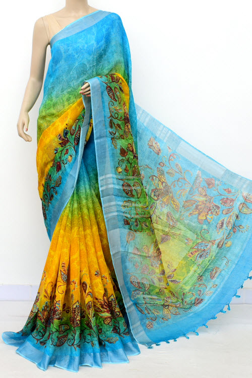 Pherozi Blue Yellow Exclusive Wrinkle Free Linen Fabric Digital Printed Saree (With Blouse) 16300