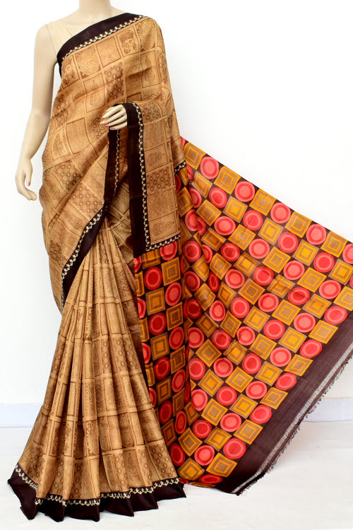 Light Chocolatee Handloom Double Knitted Printed Pure Silk Saree (With Blouse) 16355