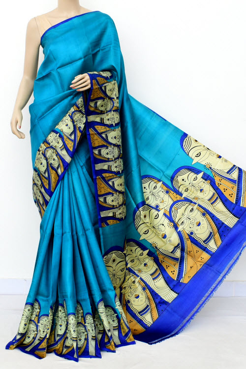 Pherozi Blue Handloom Double Knitted Kalamkari Print Pure Silk Saree (With Blouse) 16353