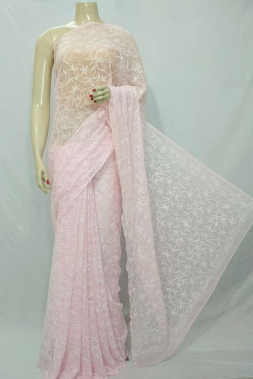 Light Pink Color Hand Embroidered Lucknowi Chikankari Saree (With Blouse - Georgette) Allover Tepchi Work 71117