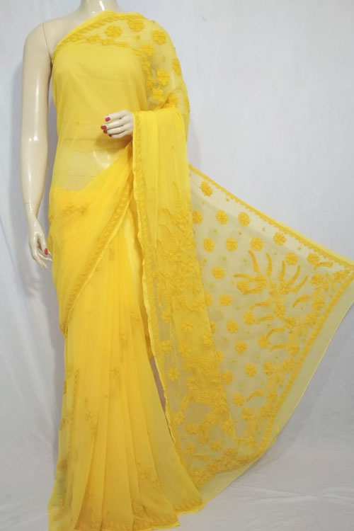 Yellow Color Hand Embroidered Lucknowi Chikankari Saree (With Blouse - Georgette)  71118