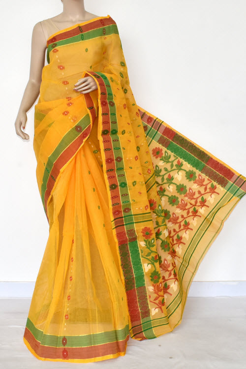 Golden Yellow Handwoven Bengal Tant Cotton Saree (Without Blouse) 14180