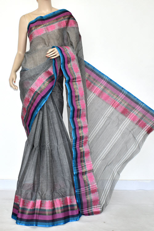 Grey Handwoven Bengal Tant Cotton Saree (Without Blouse) 14242