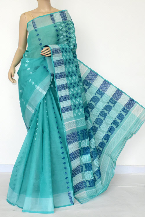 Sea Green Handwoven Bengal Tant Cotton Saree (Without Blouse) 16984