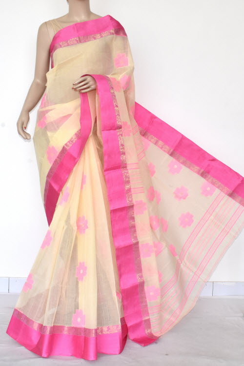 Cream Handwoven Bengal Tant Cotton Saree (Without Blouse) Pink Border 17102