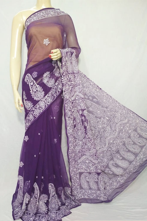 Violet Color Hand Embroidered Lucknowi Chikankari Saree heavy palla (With Blouse - Cotton)  71119