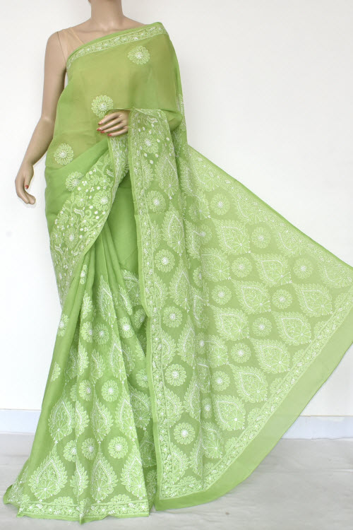 Green Hand Embroidered Lucknowi Chikankari Saree (Cotton-With Blouse) 14756
