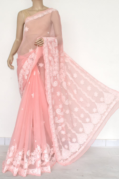 Baby Pink Hand Embroidered Lucknowi Chikankari Saree (Georgette-With Blouse) 14609