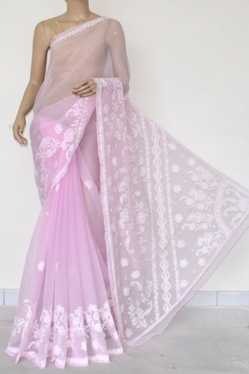 Lavender Hand Embroidered Lucknowi Chikankari Saree (Georgette-With Blouse) 14614