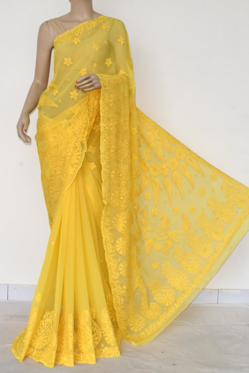 Yellow Hand Embroidered Lucknowi Chikankari Saree (Georgette-With Blouse) 14616