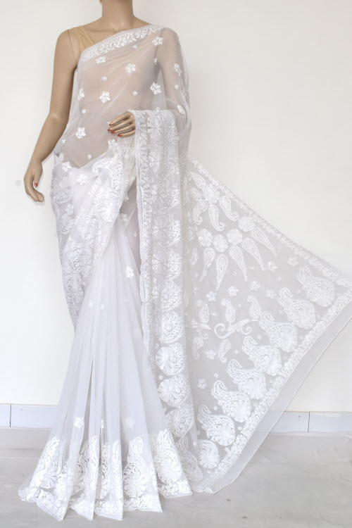 White Hand Embroidered Lucknowi Chikankari Saree (Georgette-With Blouse) 14618