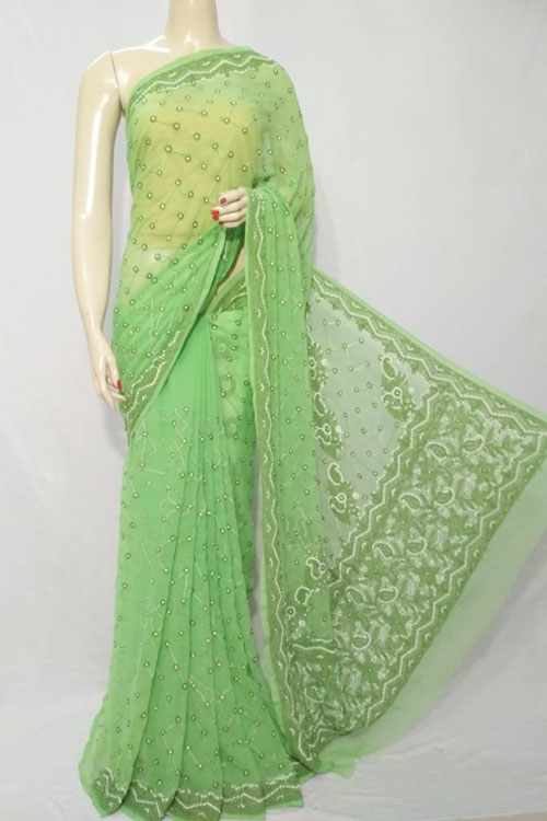 Green Color Hand Embroidered Lucknowi Chikankari Saree (With Blouse - Georgette)  71120