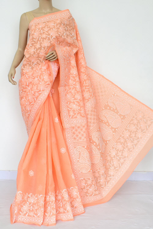 Light Orange Exclusive Hand Embroidered Lucknowi Chikankari Saree (With Blouse - Cotton) 14748