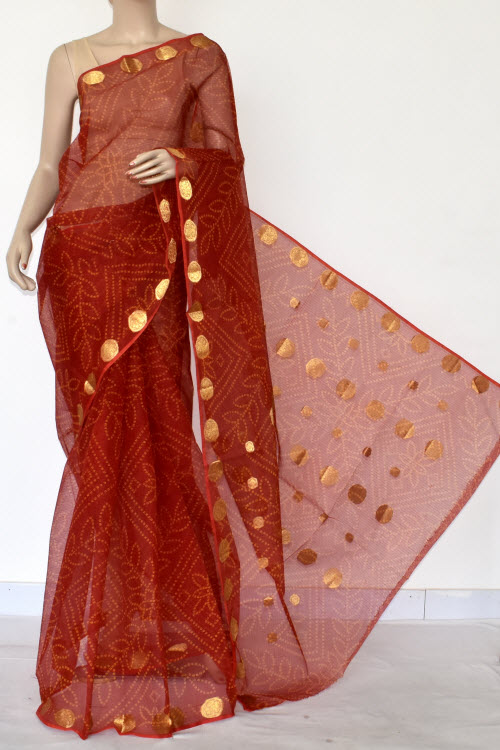 Brown Premium JP Kota Doria Printed Cotton Saree (without Blouse) 13544